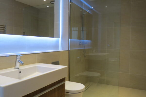 Back Lit MIrror and SInk
