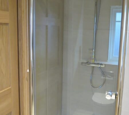 Shower installed in bathroom